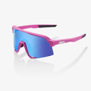 S3-bike-glasses-Matte Pink HiPER Blue Multilayer Mirror Lens